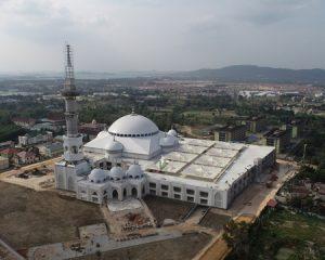 Sebentar Lagi Mesjid Terbesar Se-Sumatera Akan Selesai, Tulisan Nama Mesjid Sultan Sudah Terpasang