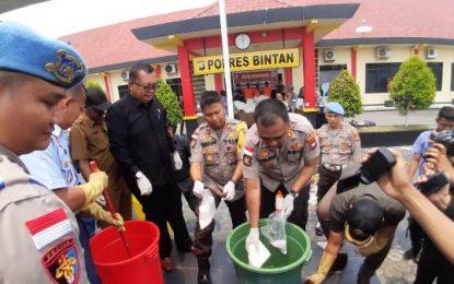 Polres Bintan Musnahkan Sabu Seberat 114,7 Kilogram