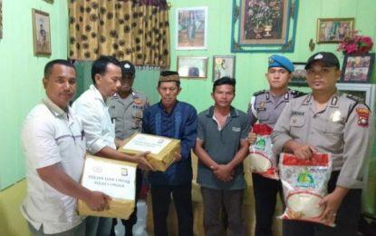 Polsek Daik Berikan Santunan Pada Korban Nelayan Tenggelam di Desa Linau