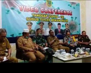 Teleconference dengan Gubernur Riau, Bupati Jelaskan Penanganan Covid-19 di Rohil