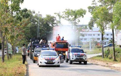 Cegah Covid-19, PBK BP Batam bersama Tim Gabungan Semprotkan Desinfektan di Jalan Raya