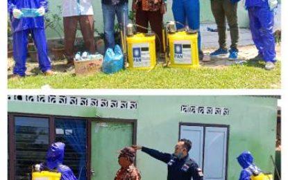 DPD PAN Bengkalis Semprotkan Disinfektan dan Bagikan Ribuan Masker di Mandau