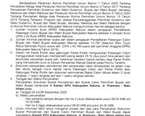 KPU Natuna Umumkan Pendaftaran Bakal Calon Bupati dan Wakil Bupati Natuna Tahun 2020