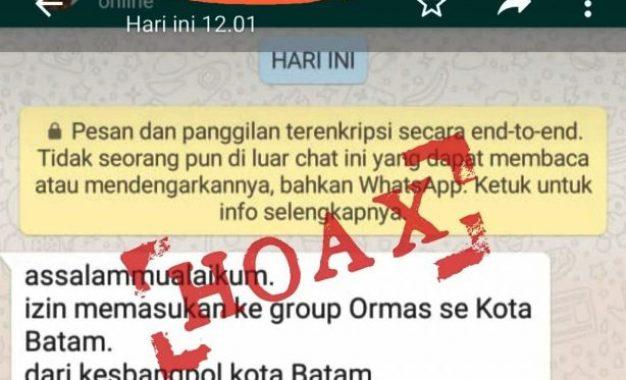 Kesbangpol Kota Batam Bantah Pembuatan Grup Ormas di WhatsApp